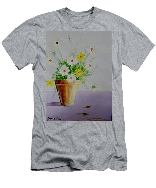 Men's T-Shirt (Slim Fit) featuring the painting Daisies In Pot by Jamie Frier