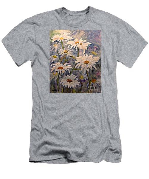 Daisies Watercolor Men's T-Shirt (Slim Fit) by AmaS Art