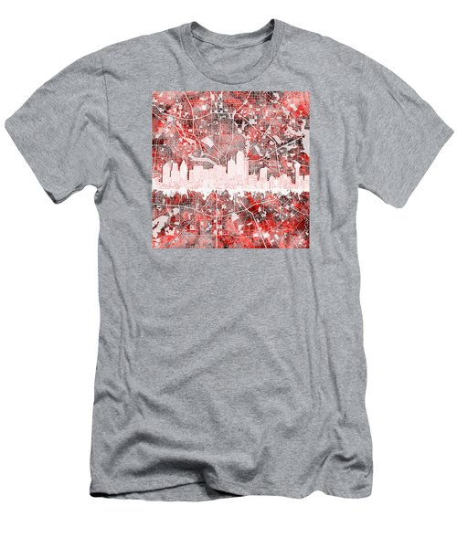 Dallas Skyline Map Red 2 Men's T-Shirt (Athletic Fit)