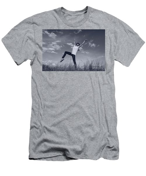 Dancing At The Beach Men's T-Shirt (Slim Fit) by Amyn Nasser