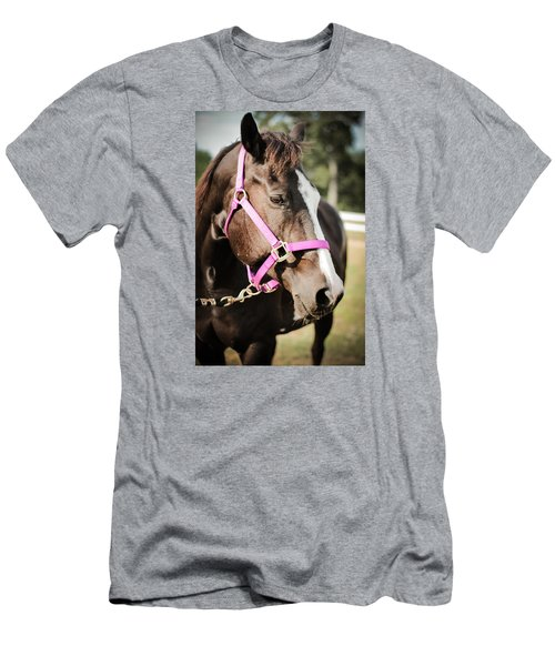 Men's T-Shirt (Slim Fit) featuring the photograph Dark Brown Horse In A Pink Bridle by Kelly Hazel