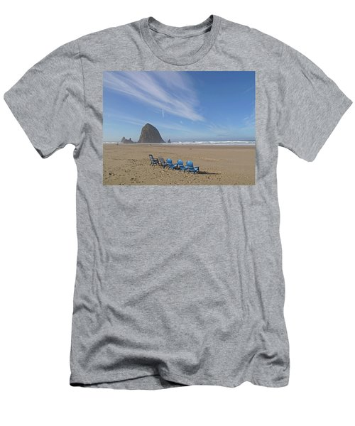 Day At Haystack Rock Men's T-Shirt (Slim Fit) by Suzy Piatt