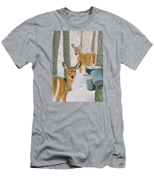 Deer And Sap Buckets Men's T-Shirt (Athletic Fit)