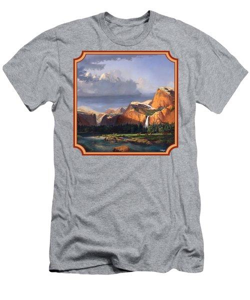 Deer Meadow Mountains Western Stream Deer Waterfall Landscape - Square Format Men's T-Shirt (Slim Fit) by Walt Curlee