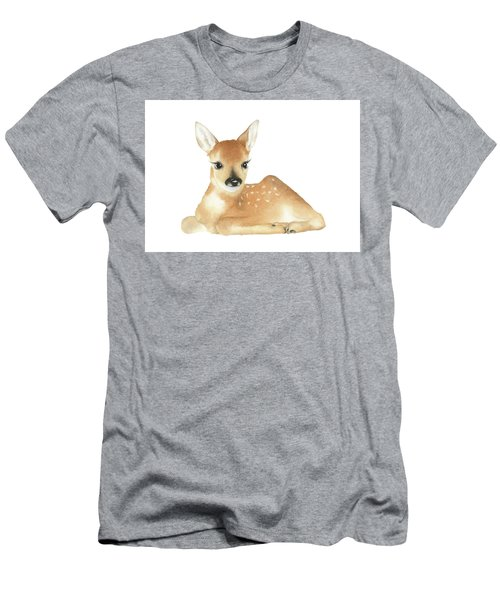 Men's T-Shirt (Slim Fit) featuring the painting Deer Watercolor by Taylan Apukovska