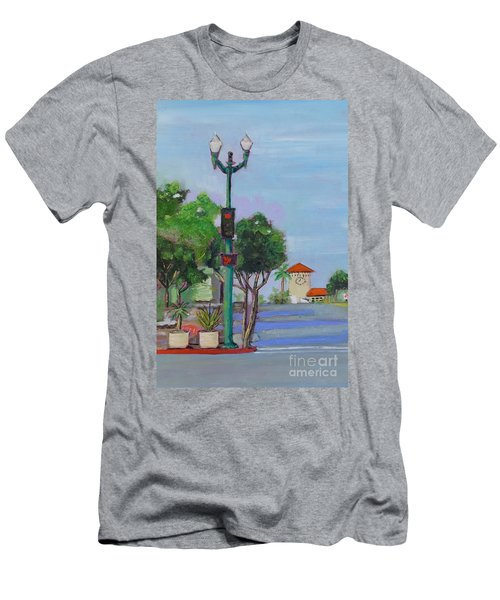 Men's T-Shirt (Athletic Fit) featuring the painting Del Mar And Ole Vista by Mary Scott