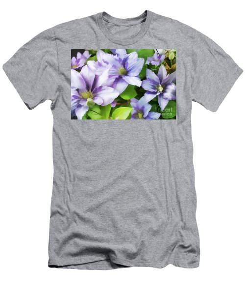 Delicate Climbing Clematis  Men's T-Shirt (Slim Fit) by Judy Palkimas