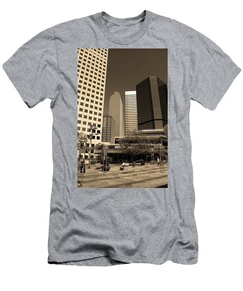 Men's T-Shirt (Slim Fit) featuring the photograph Denver Architecture Sepia by Frank Romeo