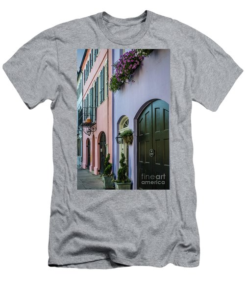 Depicting Rainbow Row Men's T-Shirt (Athletic Fit)