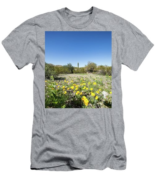 Men's T-Shirt (Slim Fit) featuring the photograph Desert Flowers And Cactus by Ed Cilley