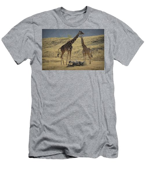 Men's T-Shirt (Slim Fit) featuring the photograph Desert Palm Giraffe by Guy Hoffman