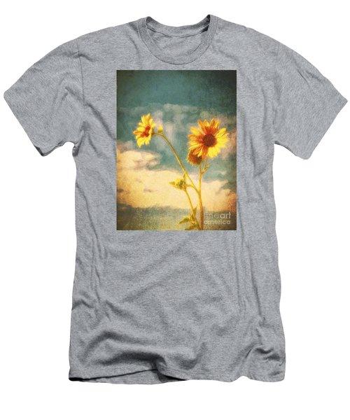 Men's T-Shirt (Slim Fit) featuring the photograph Desert Sunflower  ... by Chuck Caramella