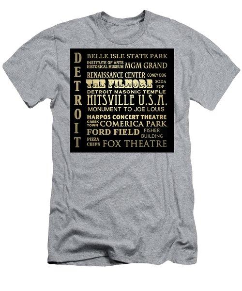 Detroit Michigan Famous Landmarks Men's T-Shirt (Athletic Fit)
