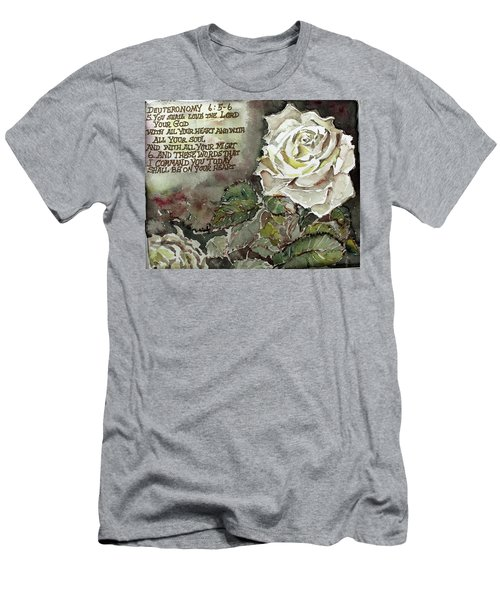 Men's T-Shirt (Slim Fit) featuring the painting Deuteronomy 6 by Mindy Newman
