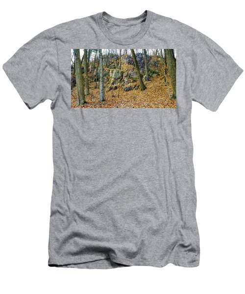 Men's T-Shirt (Athletic Fit) featuring the photograph Devils Lake Rock Formation  by Ricky L Jones