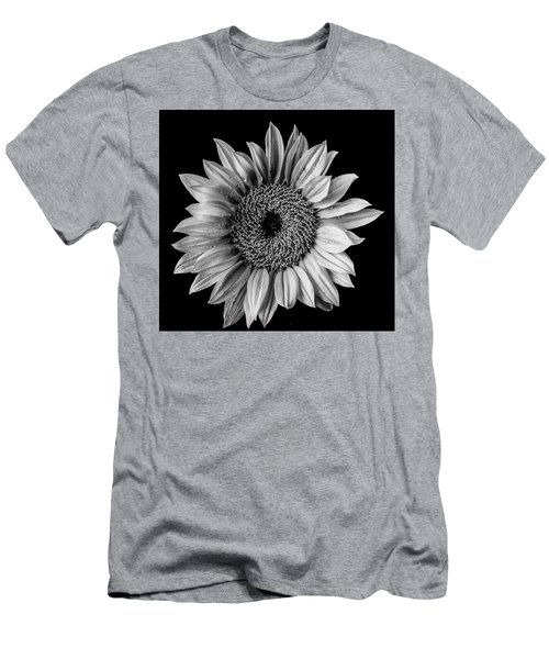 Dew Covered Sunflower In Black And White Men's T-Shirt (Athletic Fit)