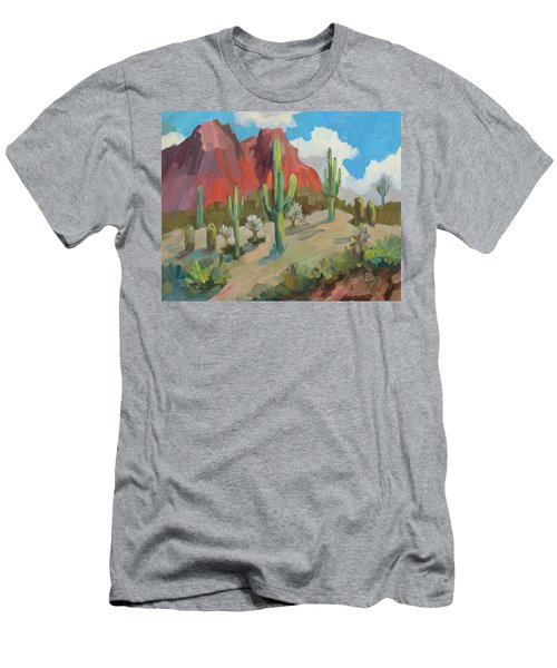 Men's T-Shirt (Slim Fit) featuring the painting Dinosaur Mountain by Diane McClary