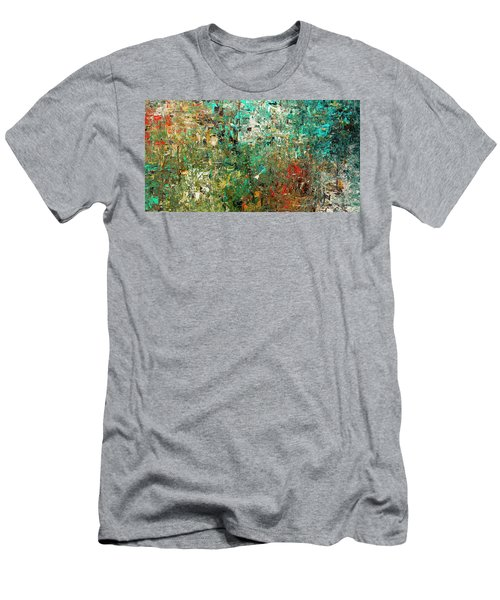 Men's T-Shirt (Slim Fit) featuring the painting Discovery - Abstract Art by Carmen Guedez
