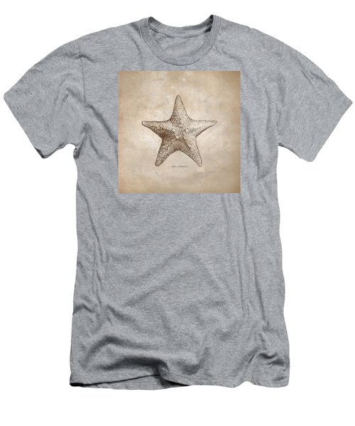 Men's T-Shirt (Slim Fit) featuring the drawing Distressed Antique Nautical Starfish by Karen Whitworth