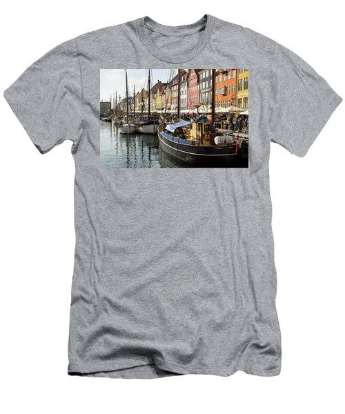 Dockside At Nyhavn Men's T-Shirt (Slim Fit) by Eric Nielsen
