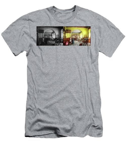 Men's T-Shirt (Athletic Fit) featuring the photograph Doctor - Physical Therapist - Welcome To The A Traction 1918 - Side By Side by Mike Savad