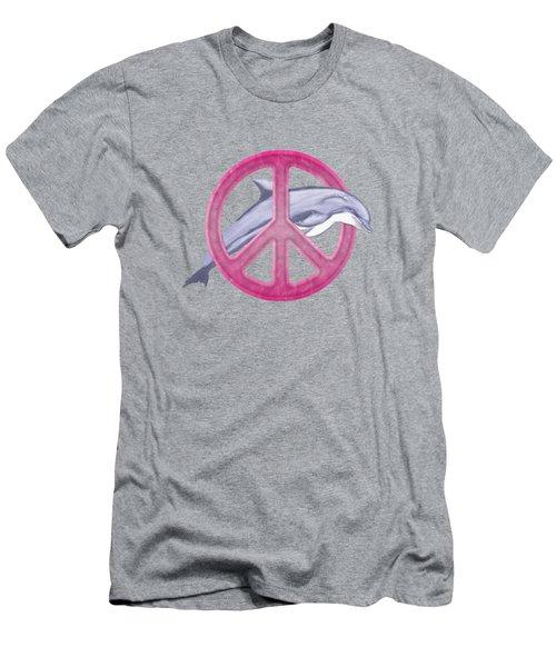Dolphin Peace Pink Men's T-Shirt (Slim Fit) by Chris MacDonald