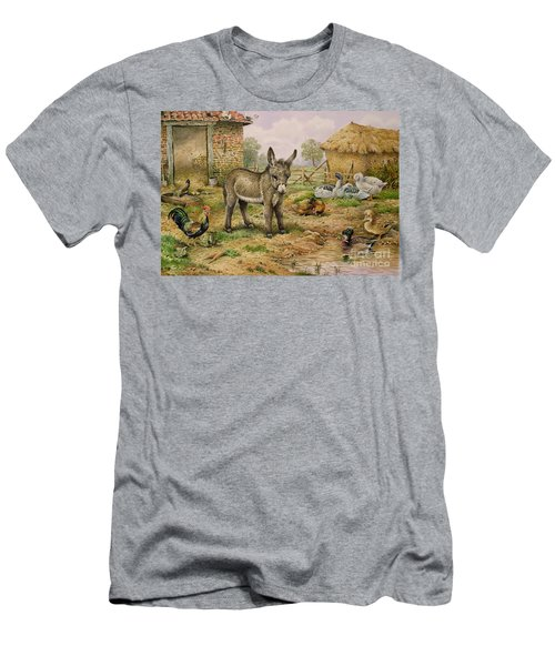 Donkey And Farmyard Fowl  Men's T-Shirt (Slim Fit) by Carl Donner