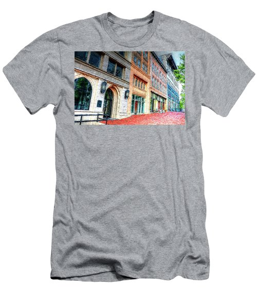 Downtown Asheville City Street Scene II Painted Men's T-Shirt (Athletic Fit)
