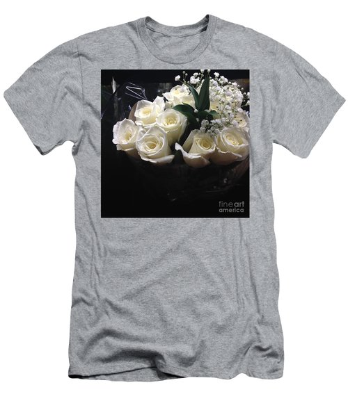 Men's T-Shirt (Slim Fit) featuring the photograph Dozen White Bridal Roses by Richard W Linford