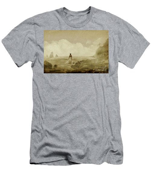 Dramatic Seascape And Woman Men's T-Shirt (Athletic Fit)