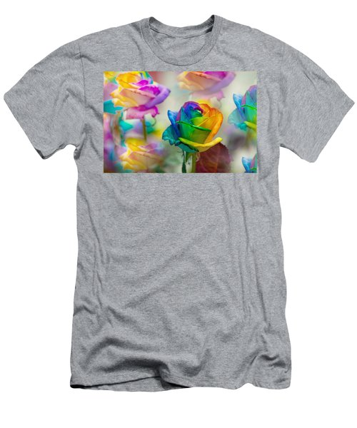Men's T-Shirt (Athletic Fit) featuring the photograph Dreams Of Rainbow Rose by Jenny Rainbow