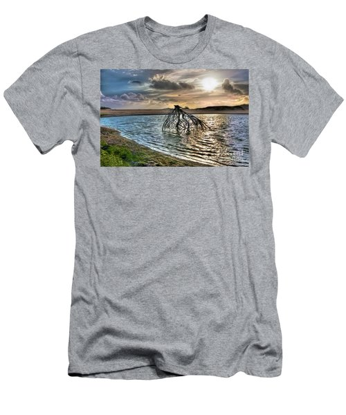 Driftwood In A Tide Pool Outer Banks Ap Men's T-Shirt (Slim Fit) by Dan Carmichael