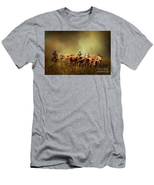 Driving The Herd Men's T-Shirt (Slim Fit) by Priscilla Burgers
