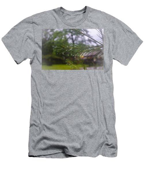 Men's T-Shirt (Slim Fit) featuring the photograph Droplets On Pine Branch by Deborah Smolinske