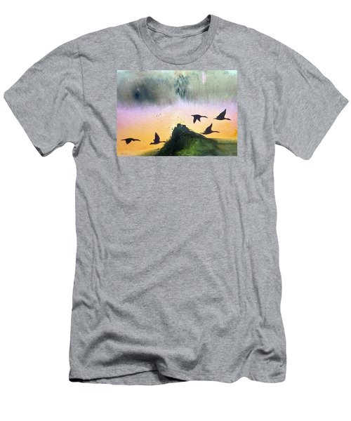Men's T-Shirt (Slim Fit) featuring the painting  Lake Lucerne by Ed  Heaton