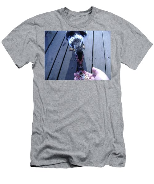 Duck Eating From My Hand Men's T-Shirt (Athletic Fit)