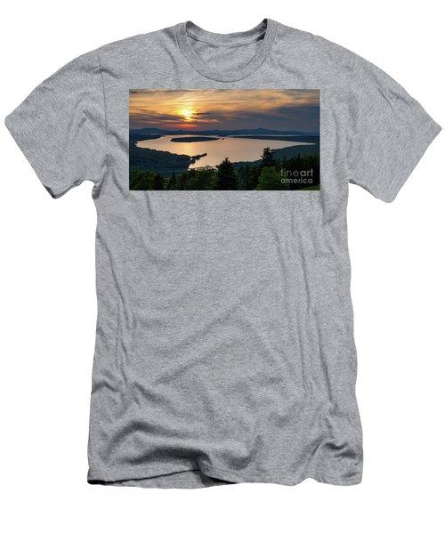 Men's T-Shirt (Slim Fit) featuring the photograph Dusk, Mooselookmeguntic Lake, Rangeley, Maine -63362-63364 by John Bald