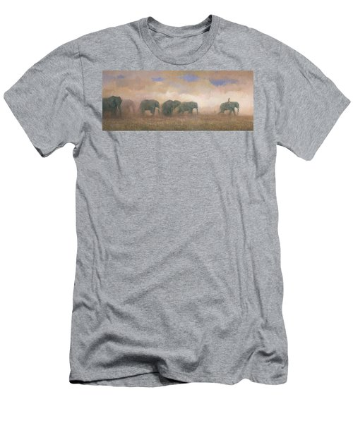 Men's T-Shirt (Athletic Fit) featuring the painting Dust Riders by Steve Mitchell
