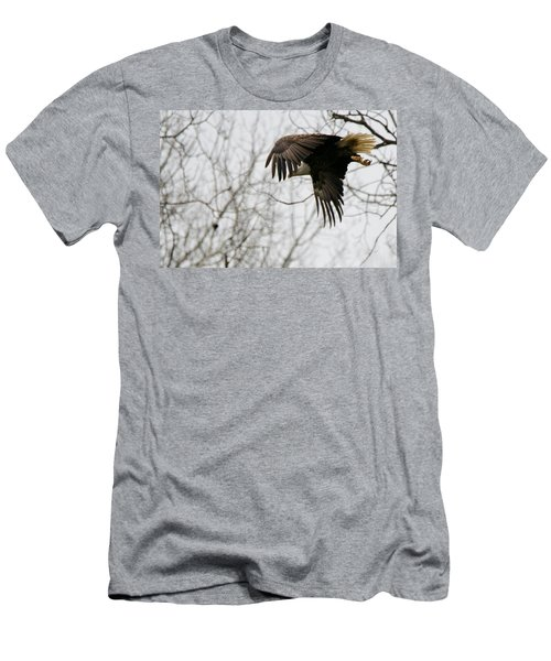 Men's T-Shirt (Slim Fit) featuring the photograph Eagle In Flight by Michael Peychich