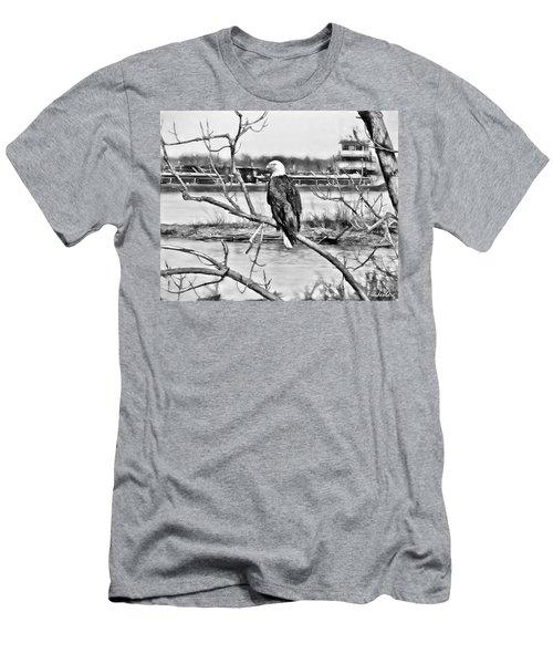 Eagle On The Illinois River Men's T-Shirt (Slim Fit) by John Freidenberg