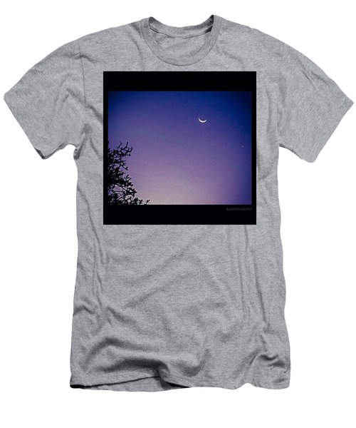 Early #evening #waxingcrescentmoon And Men's T-Shirt (Athletic Fit)