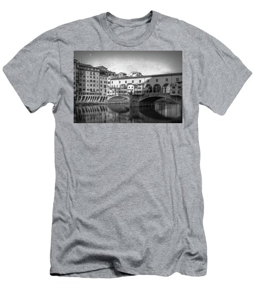 Men's T-Shirt (Slim Fit) featuring the photograph Early Morning Ponte Vecchio Florence Italy by Joan Carroll