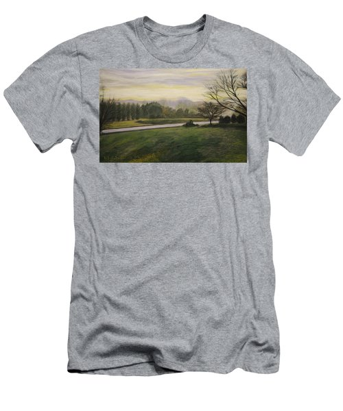 Men's T-Shirt (Slim Fit) featuring the painting Early Spring On Ernie Lane by Ron Richard Baviello