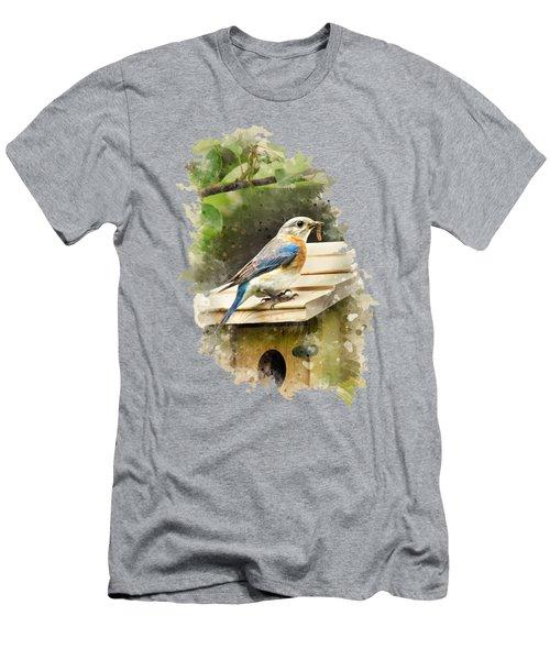 Eastern Bluebird Watercolor Art Men's T-Shirt (Athletic Fit)