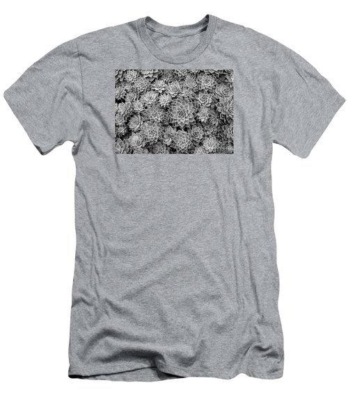 Men's T-Shirt (Slim Fit) featuring the photograph Echeveria Monochrome by Ranjini Kandasamy