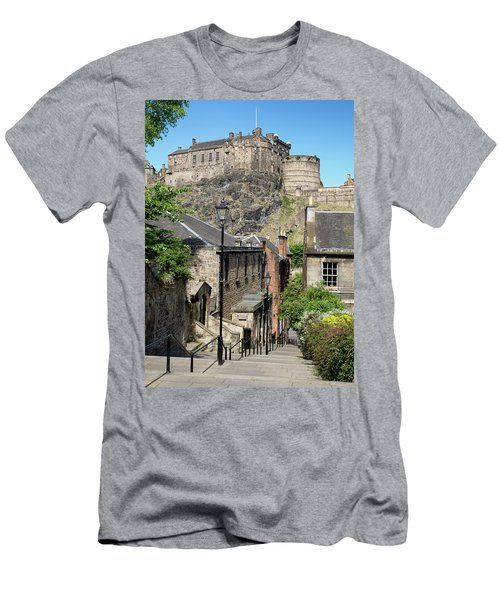 Men's T-Shirt (Athletic Fit) featuring the photograph Edinburgh Castle From The Vennel by Jeremy Lavender Photography