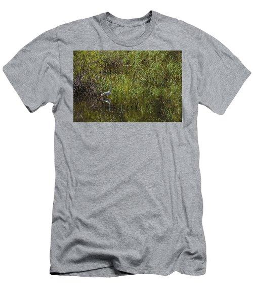 Egret Hunting In Reeds Men's T-Shirt (Athletic Fit)