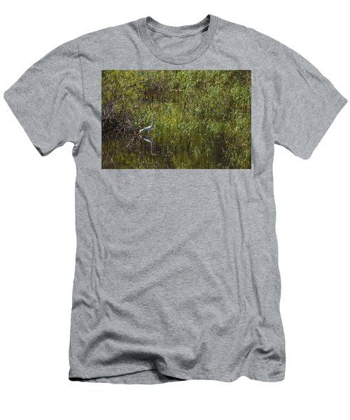 Egret Hunting In Reeds Men's T-Shirt (Athletic Fit)