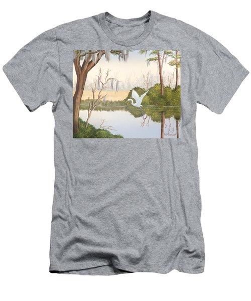 Egret In Flight 1 Men's T-Shirt (Athletic Fit)