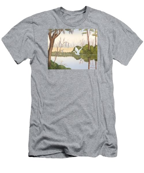 Egret In Flight 1 Men's T-Shirt (Athletic Fit)